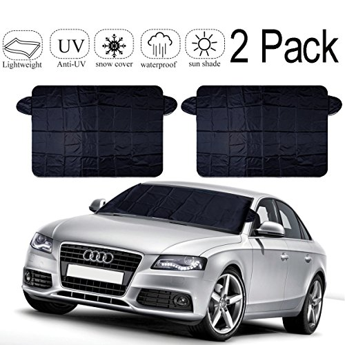 EXSPORT 2 Pack Windshield Snow Cover, SUV Car Snow Cover Snow Ice Frost Fits Most Car, SUV, Truck, Van with 59 x 27.5 inch
