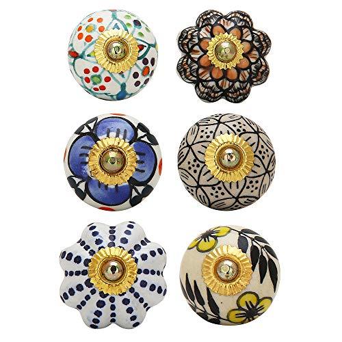 Set of 6 Dresser Knobs - Handmade Colorful Decorative Floral Drawer Handle Boho Home Decor Hardware Pull Knobs