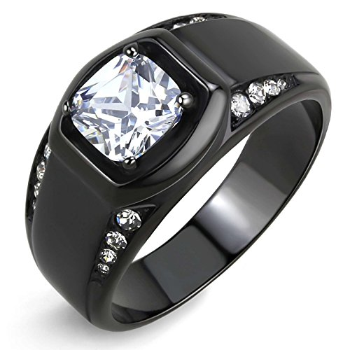 Lanyjewelry 7x7mm Cushion Cut CZ Center Two Row Side Stone Black IP Stainless Steel Mens Ring - Size 11 ()