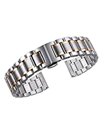 20mm Luxury Metal Watch Straps Solid Two Tone Silver and Rose Gold Stainless Steel Heavy Type with Both Curved and Straight Ends Oyster Style