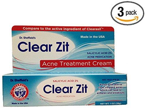 Zit claire force maximale 2 % acide salicylique crème traitement acné de Dr Sheffield, Oz 1 Tube - nouveau et amélioré la formule (Pack de 3)