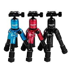 Cambofoto Aluminum Alloy Ultra Mini Photography Desktop Tripod For Travel with Ball Head Compact Desktop Macro Mini Folded Height 22cm