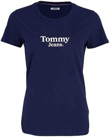 Tommy Hilfiger - TJW Flag Detail tee - Camiseta Manga Corta Color Azul para Mujer - Logo Tommy Jeans EN EL Pecho: Amazon.es: Ropa y accesorios