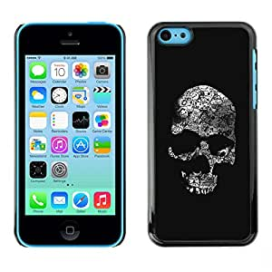 Shell-Star Arte & diseño plástico duro Fundas Cover Cubre Hard Case Cover para Apple iPhone 5C ( Skull Black Bones White Death Metal )