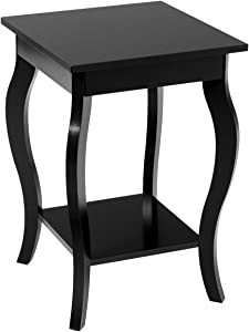 """Giantex End Table 16"""" W/Storage & Shelf Curved Legs Home Furniture for Living Room Accent Sofa Side Table Nightstand (1, Black)"""