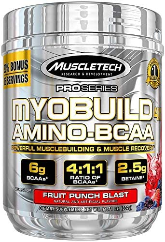 MuscleTech Myobuild BCAA Amino Acids Supplement, Muscle Building and Recovery Formula with Betaine Electrolytes, Fruit Punch Blast, 36 Servings 332g