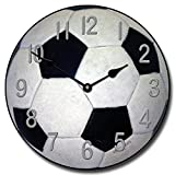 Soccer Wall Clock, Available in 8 sizes, Most Sizes Ship 2 - 3 days, Whisper Quiet.