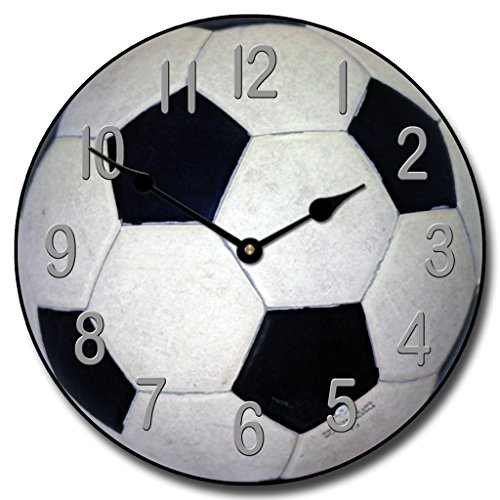 Soccer Wall Clock, Available in 8 sizes, Most Sizes Ship 2 - 3 days, Whisper Quiet. by The Big Clock Store