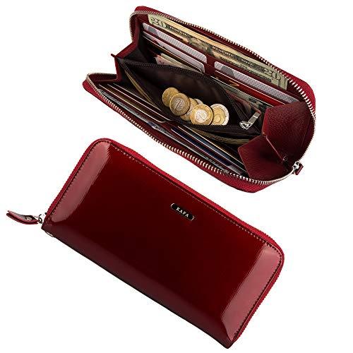 Womens RFID Blocking Wallet Zipper Around Genuine Leather Clutch Wristlet (Red)