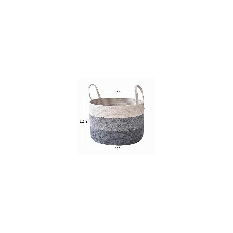 XXXLarge Cotton Rope Basket 21″ x 12.9″ Baby Laundry Basket for Blankets Toys Blanket Storage Basket Decorative Floor Basket Cushions Storage Bins Thread Laundry Hamper with Long Handle