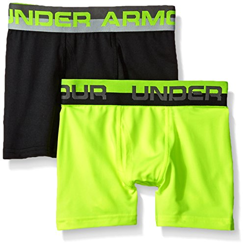 Under Armour Big Boys' 2 Pack Performance Boxer Briefs, Hi Gh/Vis Yellow/Black, YMD