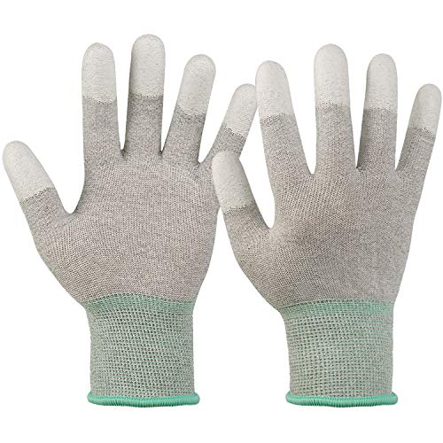 ESD Anti static gloves for PC building,carbon fiber PU coated finger anti-static gloves, to protect the safety of computer installation and repair(Medium 6 Pairs) (Color: Grey, Tamaño: Medium 6 Paris)