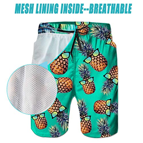 Leapparel Pineapple Blue Pattern with Glasses Surfing Men's Casual Swim Trunk for Beach Shorts Loose Flit M