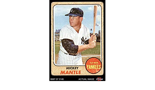 Amazon.com: 1968 Topps # 280 Mickey Mantle New York Yankees (Baseball Card) Deans Cards 1 - POOR Yankees: Collectibles & Fine Art