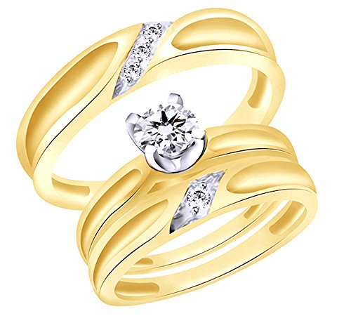 White Natural Diamond Engagement & Wedding Trio Band Ring Set In 10k Solid Gold (0.22 Cttw)
