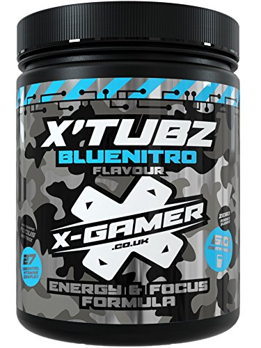 X-Gamer Blue Nitro X Tubz | 60 Servings | Healthy Raspberry Burst Energy and Focus Formula for Esports, Gaming, and The Digital Community