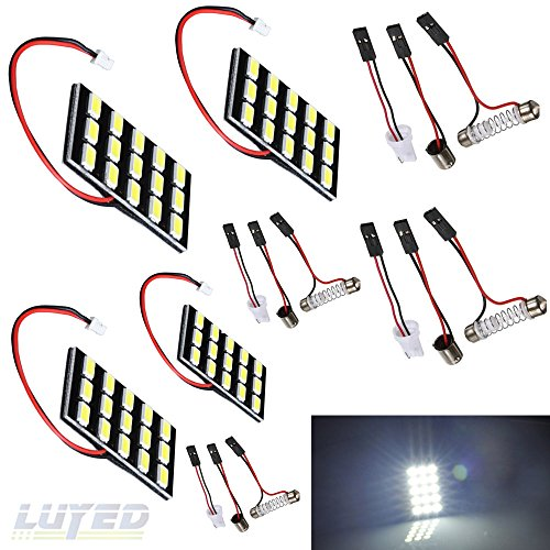 LUYED 4 x 600LM Super Bright 5630 15-SMD White Color Panel Interior Dome LED Lights(Include 3 Adapter)