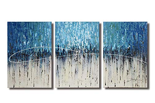 Bed Set Painted Hand (ARTLAND Hand-painted 24x48-inch 'Ice Forest' 3-piece Gallery-wrapped Abstract Oil Painting on Canvas Wall Art Set)
