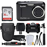 Kodak PIXPRO FZ43 Digital Camera (Black) + 16GB Memory Card + Deluxe Point and Shoot Camera Case + Extendable Monopod + Lens Cleaning Pen + LCD Screen Protectors + Table Top Tripod – Top Valued Bundle