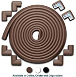 Roving Cove | Baby Proofing Edge & Corner Guards | Safe Edge & Corner Cushion | Child Safety Furniture Bumper | Table Protectors | Pre-Taped Corners | 20.4 ft [18 ft Edge + 8 Corners] | Coffee Brown