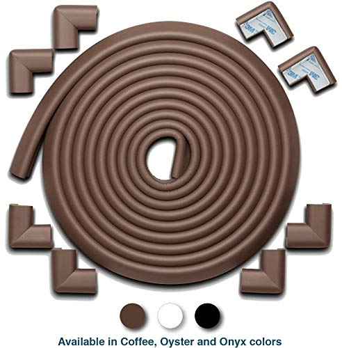 Children Come Frame - Roving Cove | Baby Proofing Edge & Corner Guards | Safe Edge & Corner Cushion | Child Safety Furniture Bumper | Table Protectors | Pre-Taped Corners | 20.4 ft [18 ft Edge + 8 Corners] | Coffee Brown