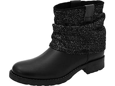6e6344c41a3617 Tamaris Damen Boots Schwarz Glitzer - Stiefelette - schwarz ...