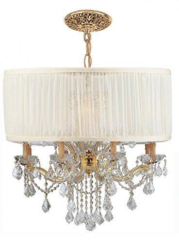 Brentwood Collection Twelve Light - Crystorama 4489-GD-SAW-CLQ Crystal 12 Light Chandelier from Brentwood collection in Gold, Champ, Gld Leaffinish,