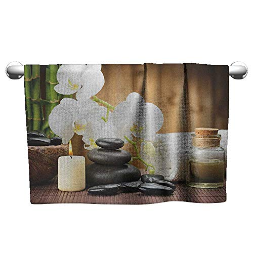 Art Towel Spa,Asian Spa Style Arrangement with Zen Stones Candle Flowers and Bamboo Art, White Green and Black,Hanging Towel Rack for Bathroom