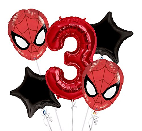 Spiderman Balloon Bouquet 3rd Birthday 5 pcs - Party Supplies