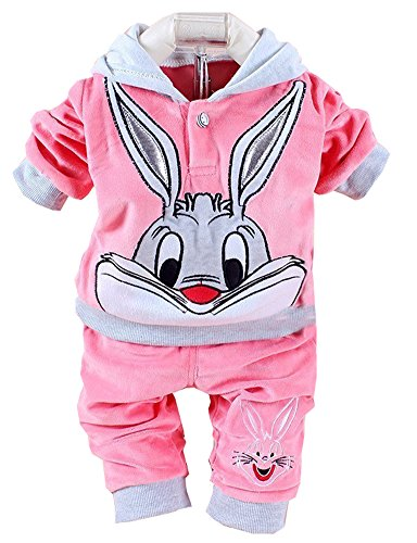 Eden Babe New baby clothing set 2015 Spring/Autumn baby's set cartoon rabbit boys girls clothes twinse suits hoodie pant children clothing(Pink,7-9 (Rabbit Safety Collar)