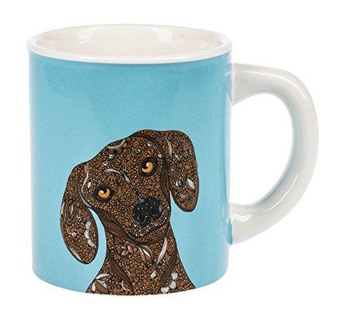 - Ganz Curious Dachshund Dog Bright Aqua Blue Dolomite Ceramic 14 Ounce Coffee Mug