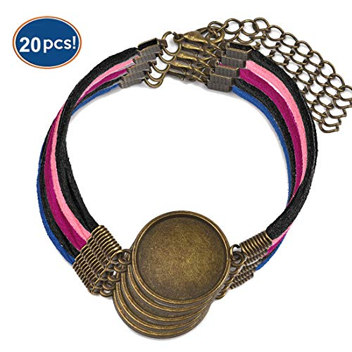 LANBEIDE Braid Leather Bracelet Bangle Blank Base Fit 20mm Round Glass Cabochon Gems Setting Bezel Tray for Jewelry Making Pack of 20 Antique Bronze
