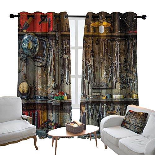 "Lewis Coleridge Pattern Curtains Man Cave Decor,Vintage Tools Hanging On A Wall in A Tool Shed Workshop Fixing Equipment,Multicolor,Living Room and Bedroom Multicolor Printed Curtain Sets 84""x100"" from Lewis Coleridge"