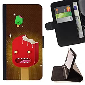 BullDog Case - FOR/LG Nexus 5 D820 D821 / - / ice cream art cartoon characters red stars /- Monedero de cuero de la PU Llevar cubierta de la caja con el ID Credit Card Slots Flip funda de cuer