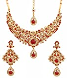 Touchstone Indian bollywood maroon white classic wedding wear jewelry necklace set in antique gold tone