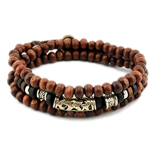 MORE FUN Wood Beads Bracelet with Alloy Carve Patterns Woodwork Bracelet Snap Buttons Cuff