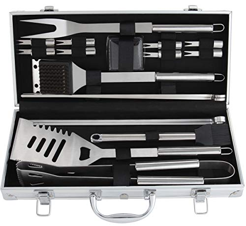 ROMANTICIST 19Pc Heavy Duty Stainless Steel BBQ Grill Tool Accessories Set in Gift Box - Outdoor Camping Barbecue Grilling Utensils Gift Kit with Aluminum Case for Men Dad ()
