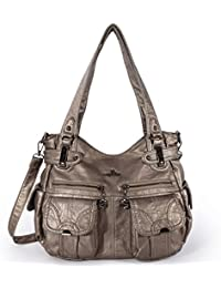 Angelkiss Womens Handbag Large Double Zipper Multi Pocket Washed Shoulder bag Designer Handbags for Women