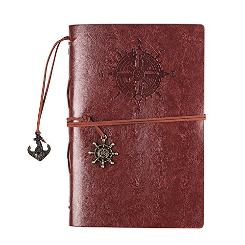 Handmade Large-Sized Retro Leather Corsair Notepad Travel Journal Notebook Drawing Sketch Writing Classic Nautical Guide Dial Embossed Vintage Copper Pendant 80sheets A5 Blank Unlined Paper (coffee) by molshine