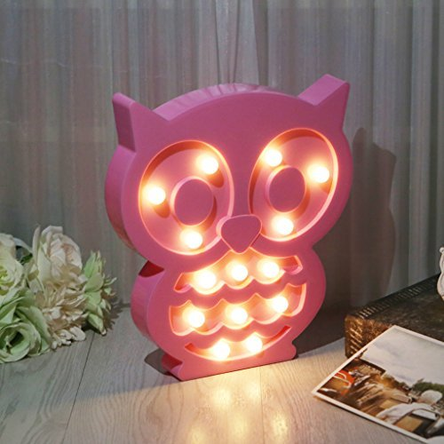 SYlive Novelty LED 3D Owl Lamp, Kids Night Light Decoration, Children's Room Bedside for Girls Wall Decor Halloween Christmas]()