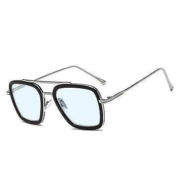 Outray Retro Iron Man Gafas de sol Tony Stark Gafas Marco de metal de gafas cuadradas para hombres mujeres