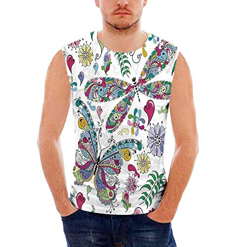 (Mens Sleeveless Dragonfly T- Shirt,Butterfly Dragonfly Paisley Complex Motifs wi)