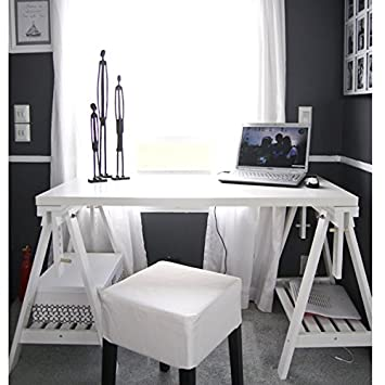 ikea tables office. Ikea Linnmon White Desk Table 47x23\u0026quot; With 2 Trestle Shelf Legs Height And Angle Adjustable Tables Office