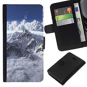 LECELL--Cuero de la tarjeta la carpeta del tirón Smartphone Slots Protección Holder For Sony Xperia M2 -- Mont Blanc --