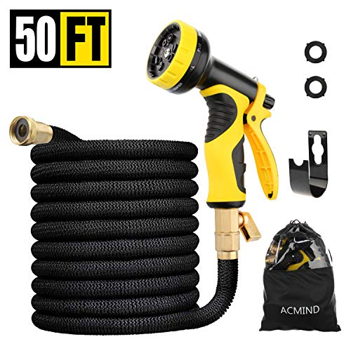 Acmind 50FT Expandable Garden Hose, Extra Strength Fabric and Double Latex Core Water Hose, 3/4″ Solid Brass Fittings Flexible No-Kink Expanding Hose with 9 Function Spray Nozzle