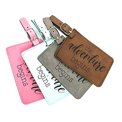 Stylish Leatherette luggage tag with famous travel quote - The adventure begins - Grey