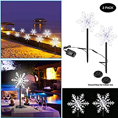LED Pathway Lights 2 pcs Outdoor Landscape Snowflake Lamp Christmas Fairy Lighting, 3D Snow Decorations Garden Spotlights for Party Lawn Wedding Festival (2 Pack)