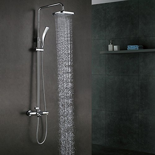 Anti Scald Faucets (KES European Style Thermostatic Bathrube & Shower System Rainfall Shower Head Adjustable Shower Bar Wall Mount TRIPLE FUNCTION, Polished Chrome, XM6600A)
