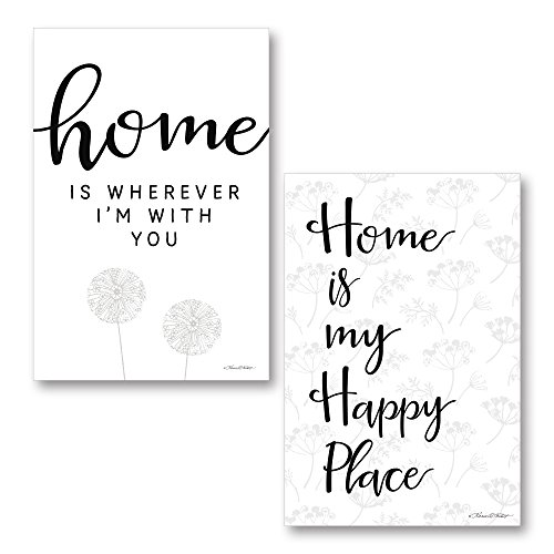 Karen Tribett Paper - Gango Home Décor Contemporary Home is My Happy Place & Home is Wherever I'm with You by Karen Tribett (Printed on Paper); Two 12x18in Unframed Paper Posters