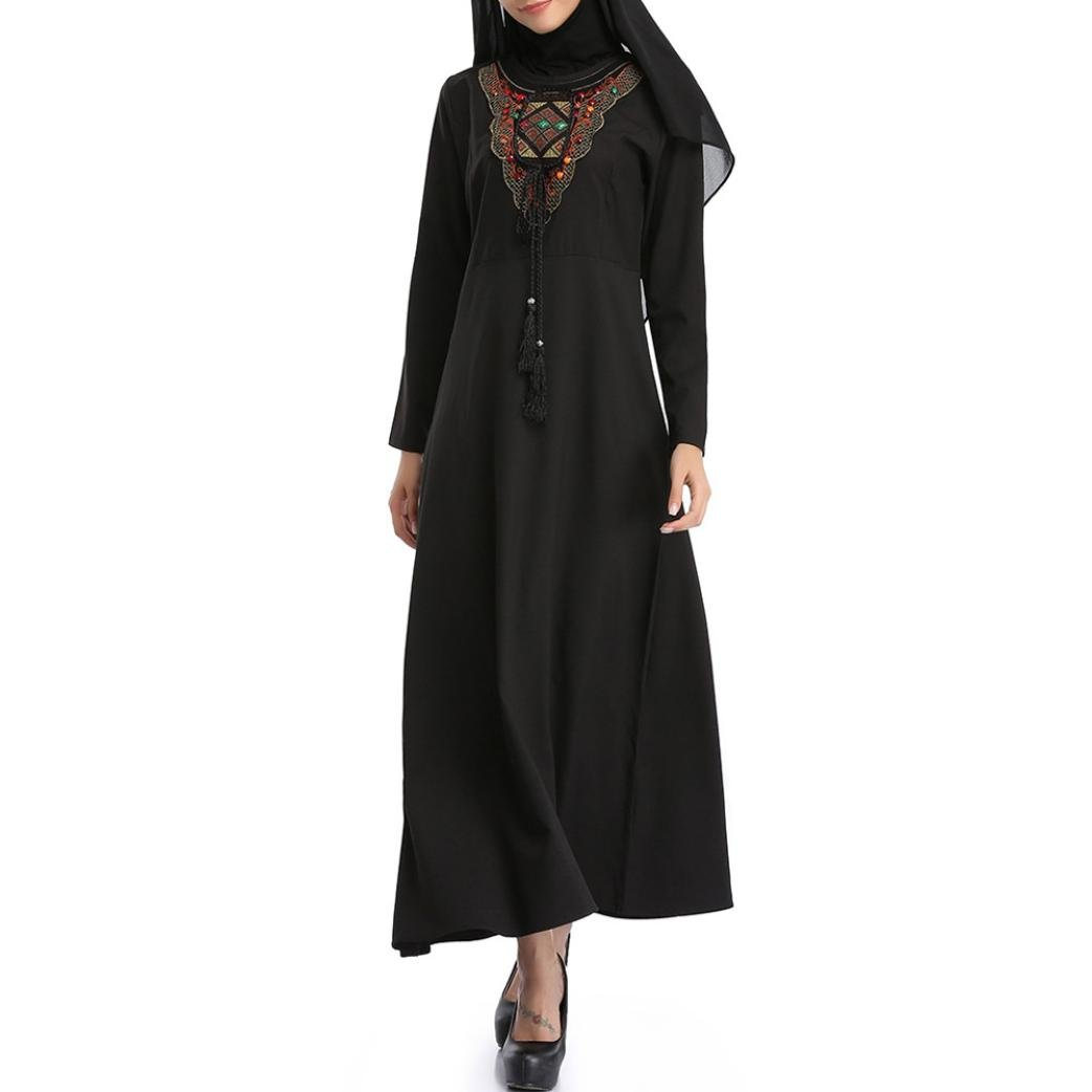 Rucan Muslim Women Islamic Embroidery Pure Color Middle East Long Maxi Dress (Black, X-Large)